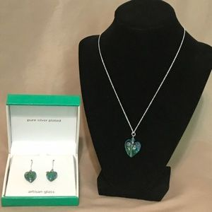 Silver plated & artisan glass necklace & earrings